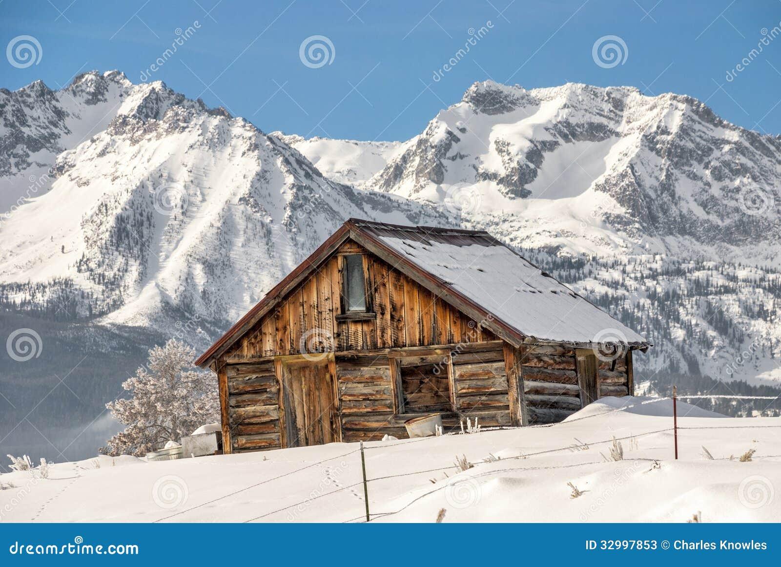 Winter Cabin And Idaho Mountains Stock Photos - Image: 32997853