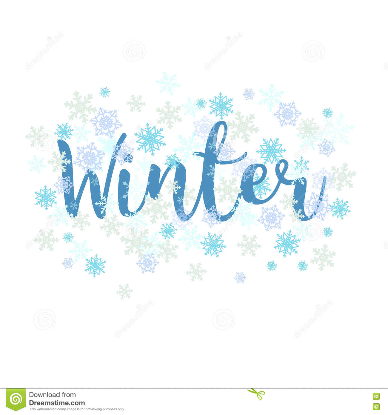 winter  calligraphy text and snowflakes  stock vector