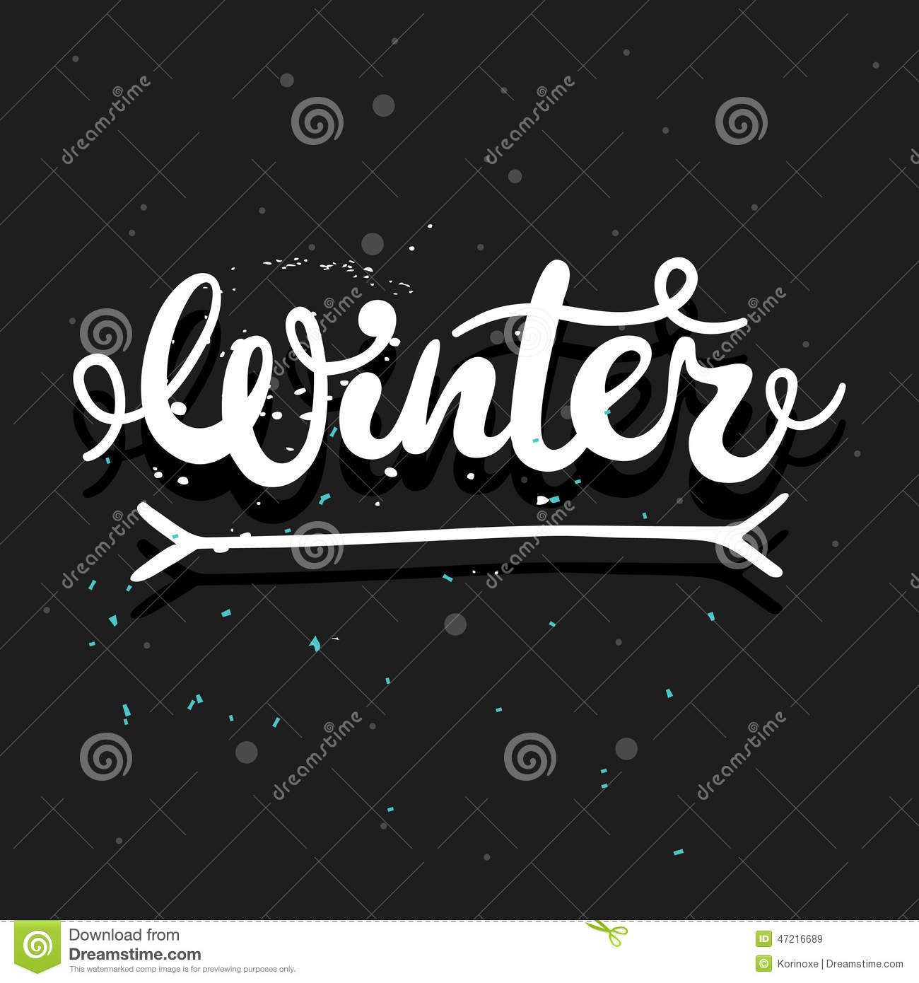 Winter calligraphy word stock vector image