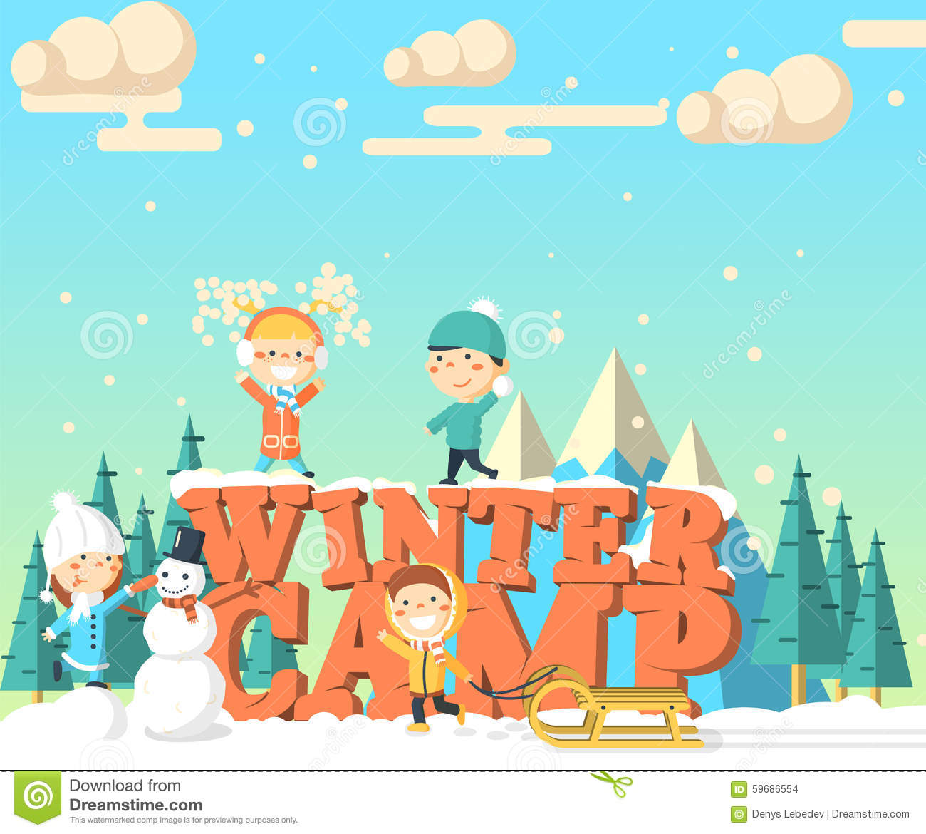 Camp isometric illustration with snowman kids nature and letters