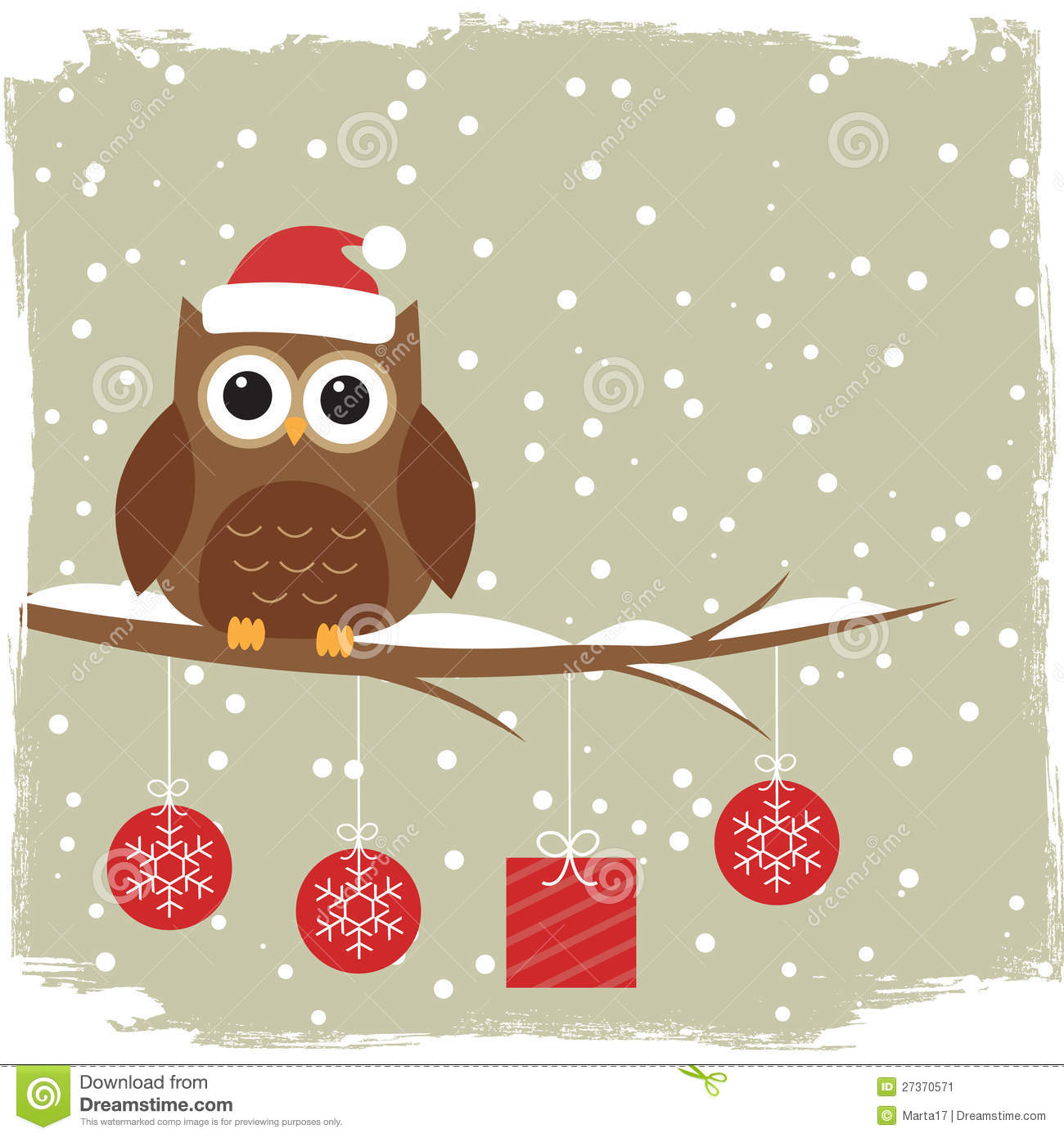 Winter Card With Cute Owl Stock Image Image 27370571