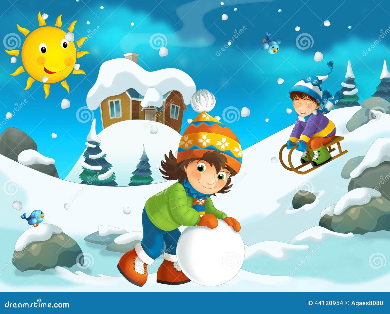 Winter Cartoon Illustration For The Children Stock ...