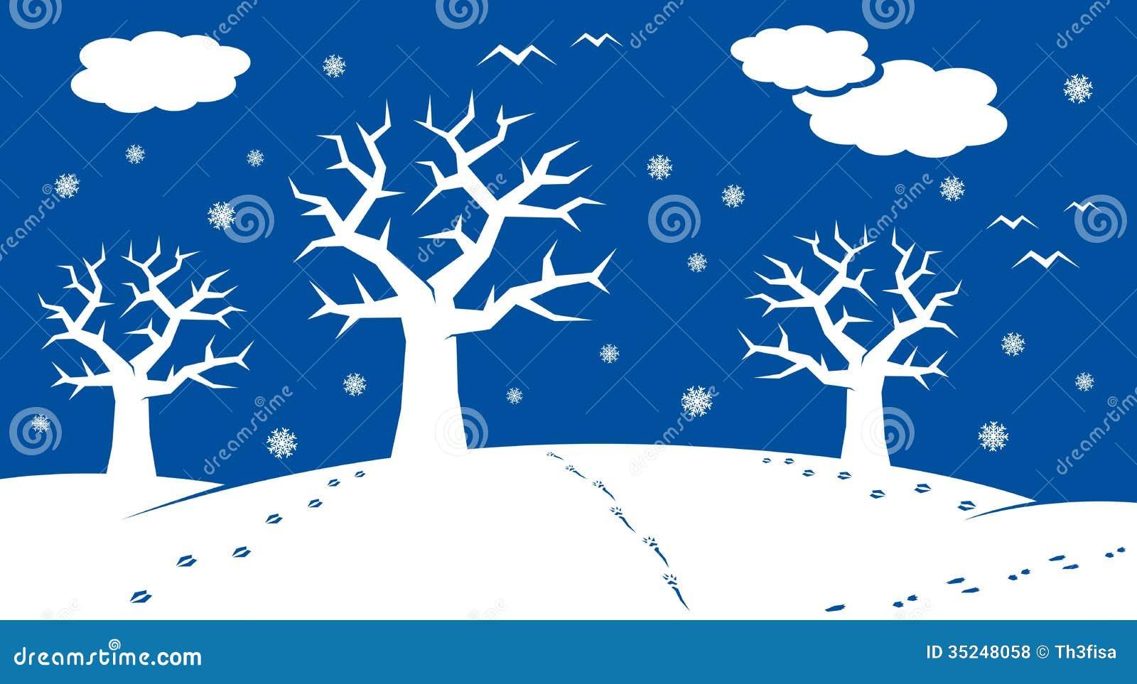 Winter Cartoon Landscape Stock Illustration Illustration