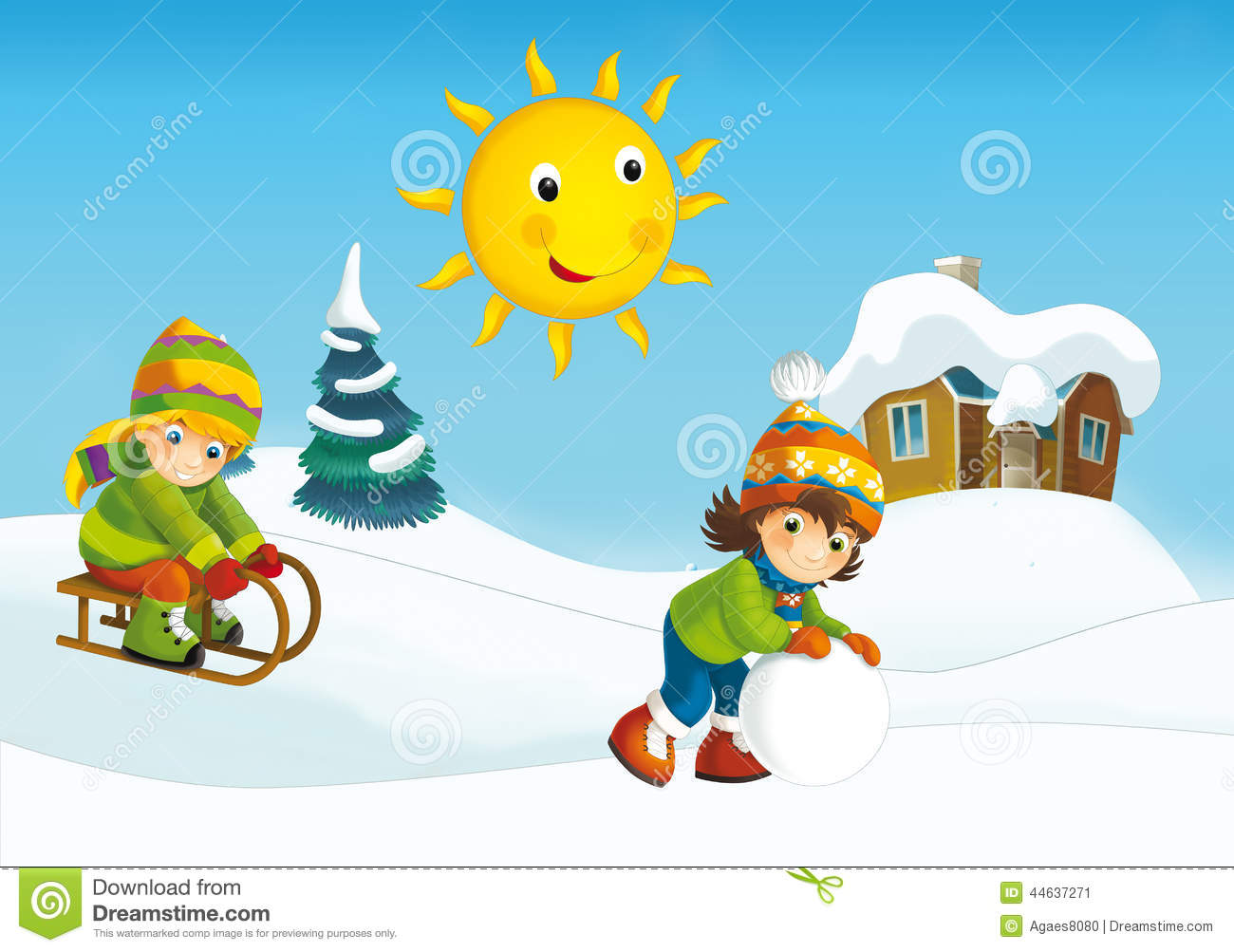 Winter Cartoon Scene Stock Illustration - Image: 44637271