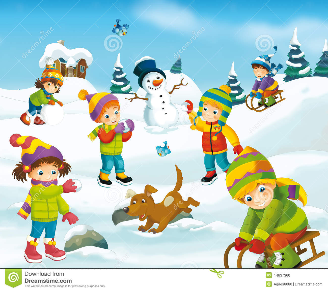Winter Cartoon Scene Stock Illustration - Image: 44637360
