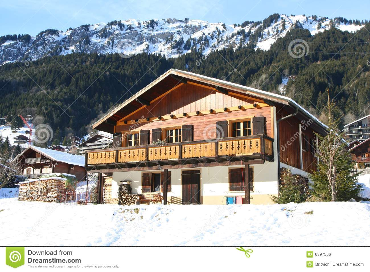 Download Winter chalet stock photo. Image of resting, light, mountains - 6897566