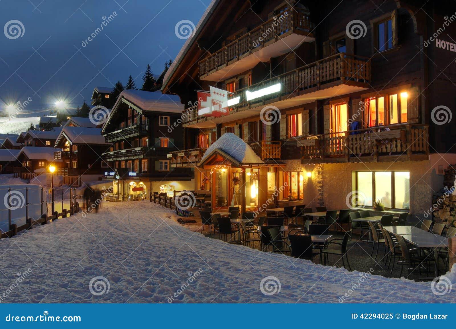 Bettmeralp Switzerland  city images : Hotel and winter resort scene in Bettmeralp, Switzerland at night.