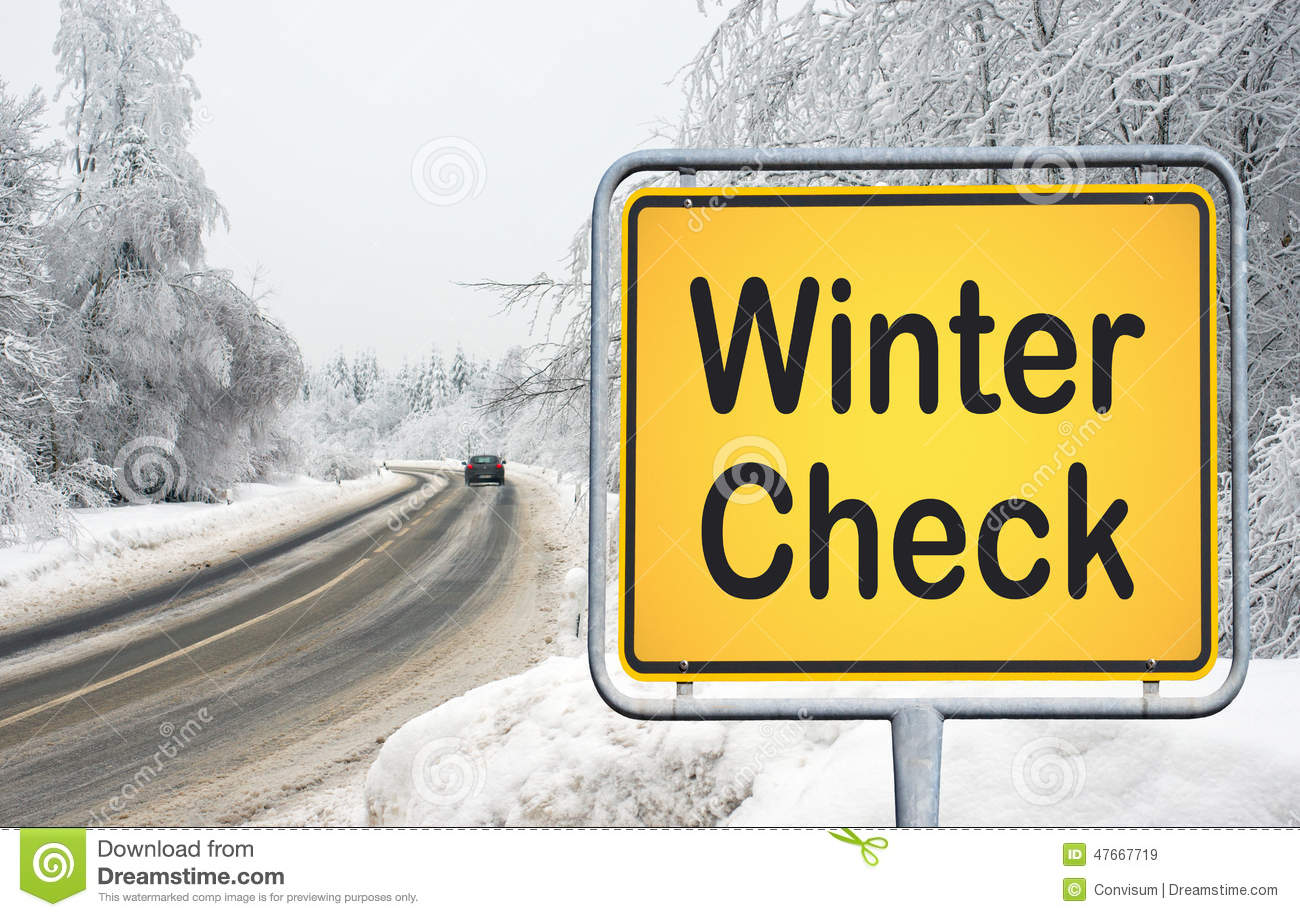 Winter check yellow traffic sign with road car and snow in the