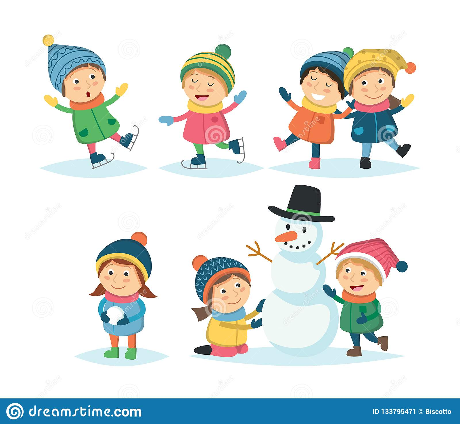Winter Children Set With Different Kids Playing Outdoor