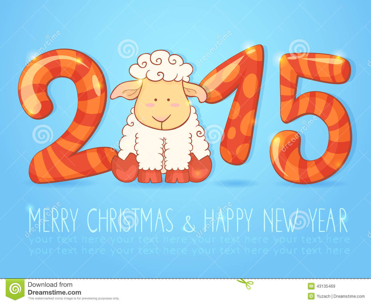 cute winter chinese new year card with cute cartoon sheep and 2015 figures