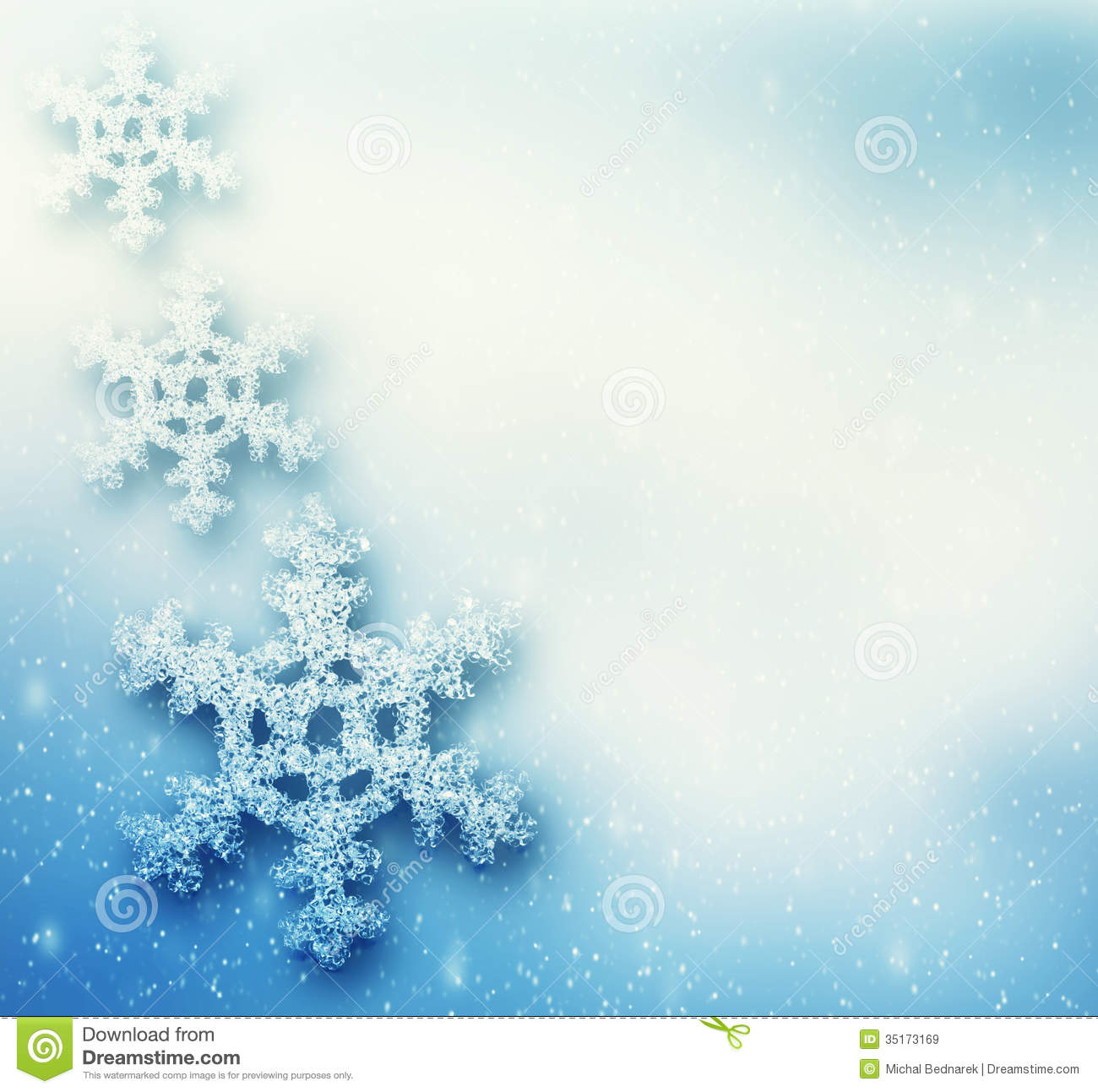 Background with big snowflakes snow storm frost glittering lights
