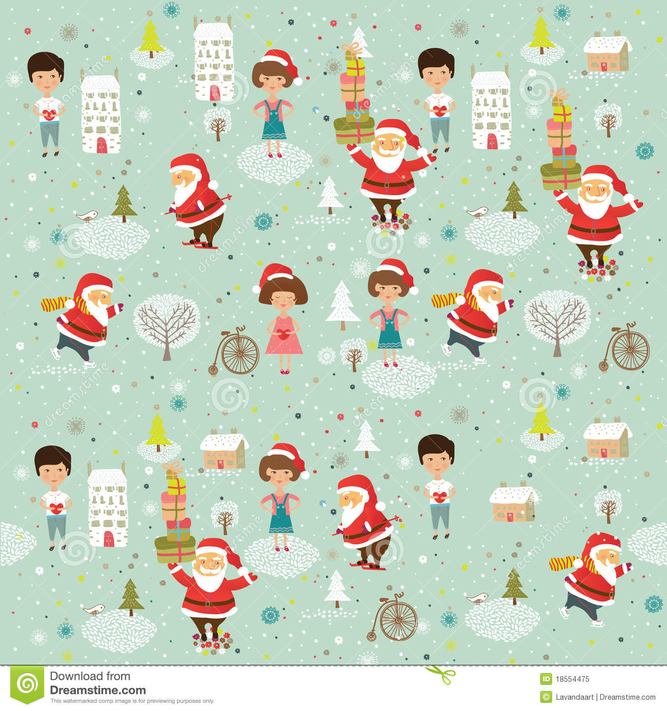 Winter Christmas Background With Kids And Santa Stock Illustration ...