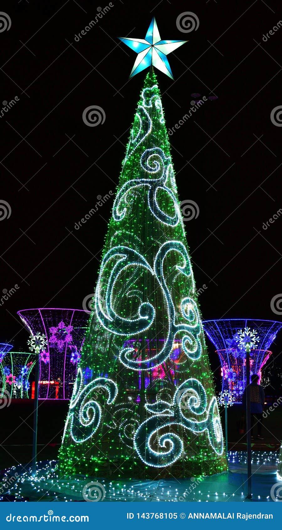 Winter Christmas decorative Lights display of Christmas Tree