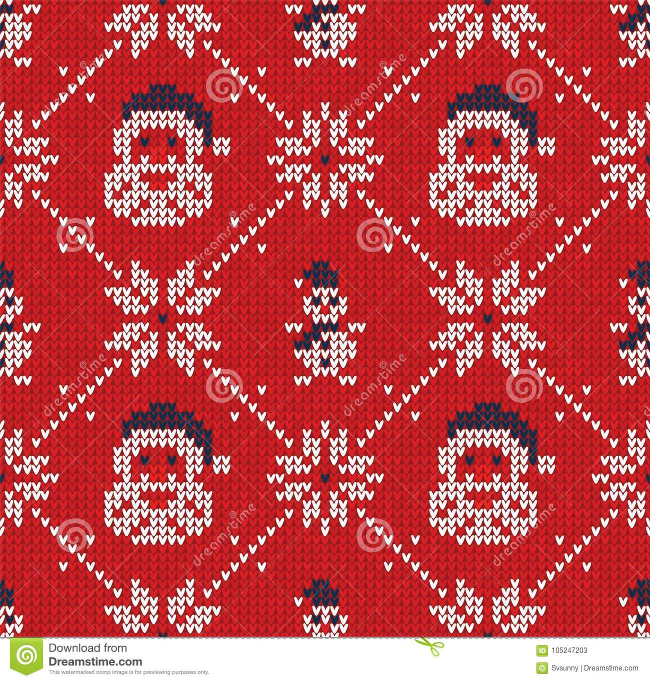 Winter Christmas Knitted Seamless Abstract Background Santa Claus ...