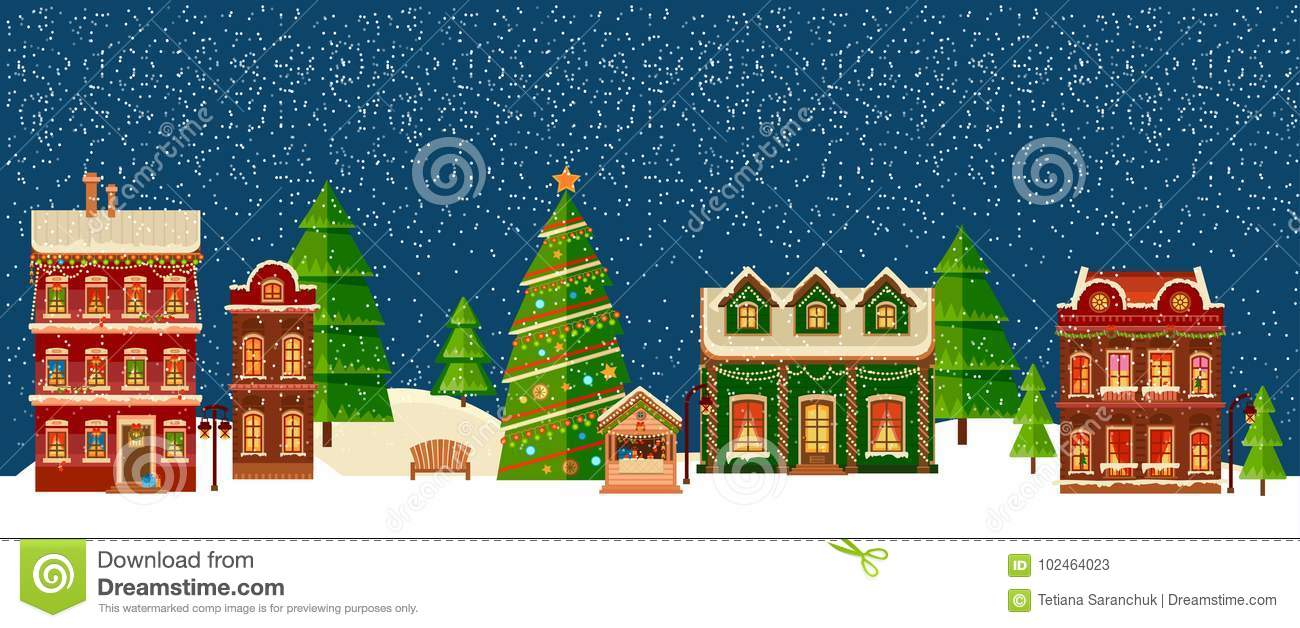 Christmas Houses.Winter Christmas Landscape With Houses Stock Vector