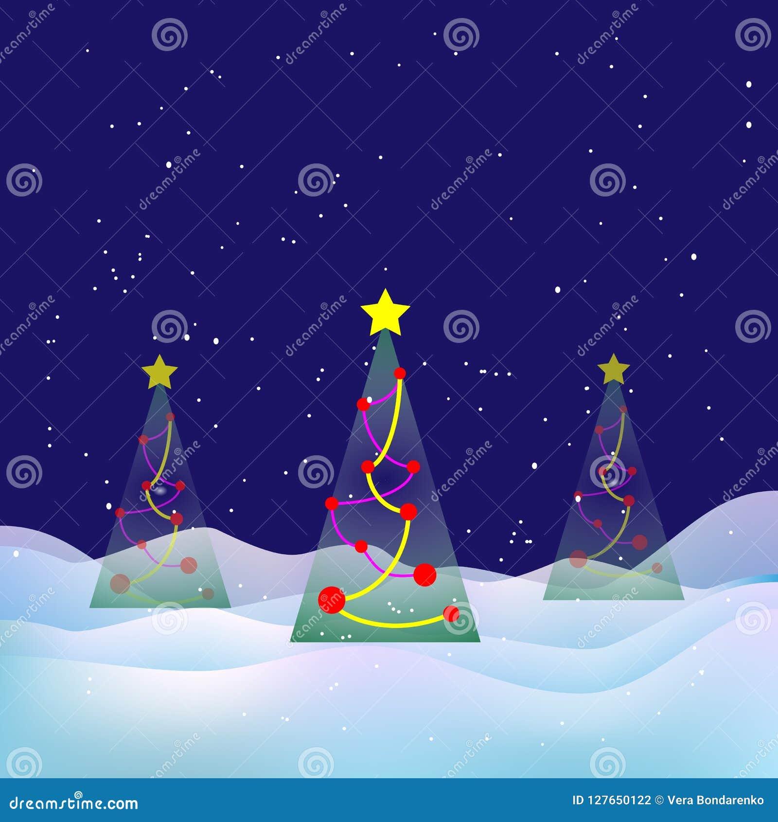 Winter Christmas landscape. Snowy night, Xmas tree