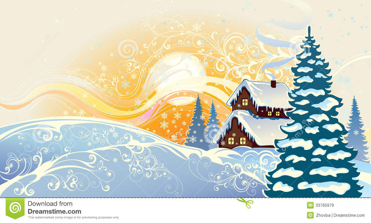 Winter christmas landscape stock vector image 33765979 for Christmas landscape images
