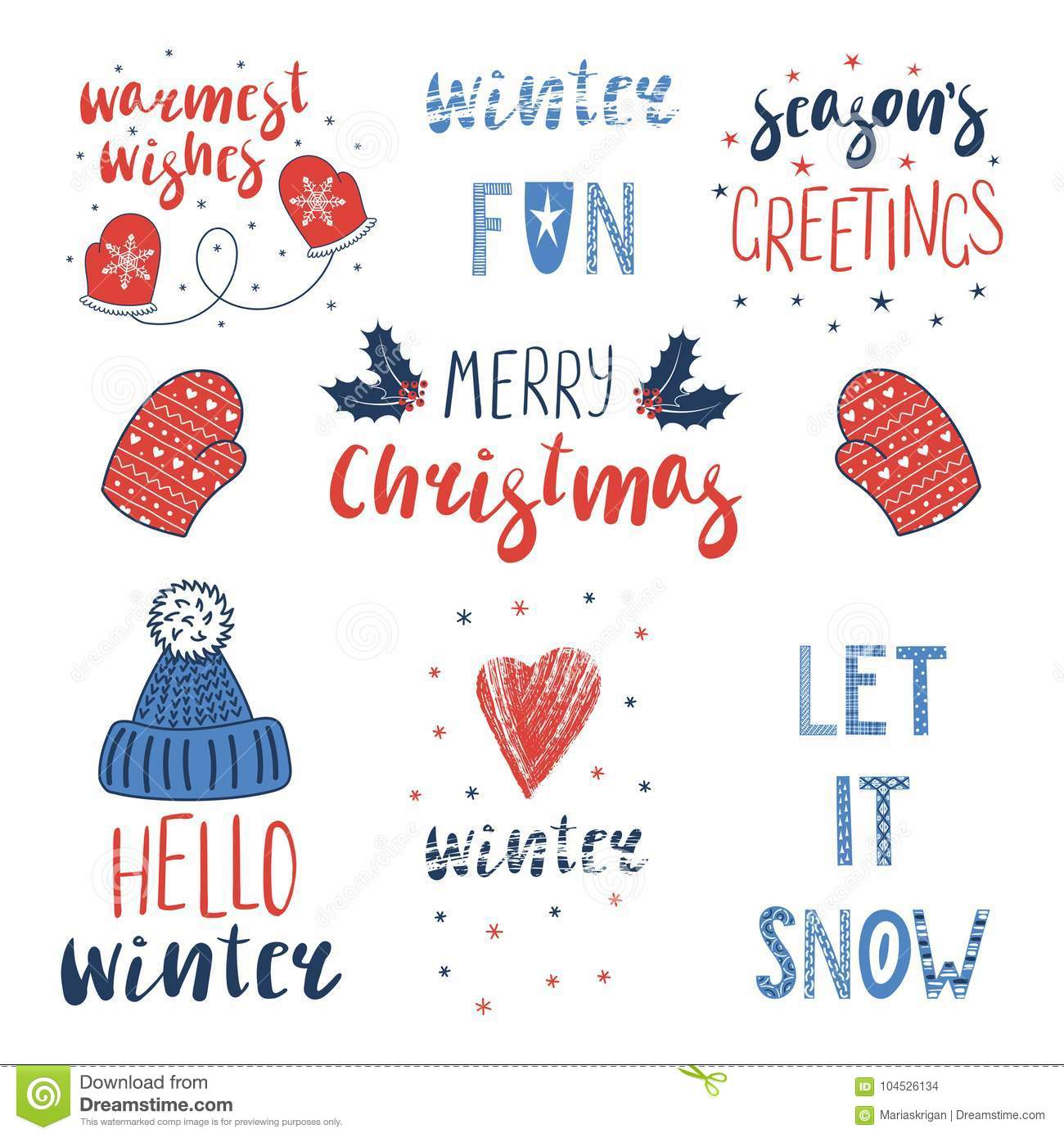 Winter And Christmas Quotes Set Stock Vector - Illustration ...