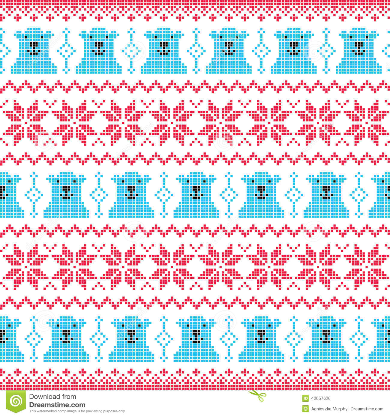 Winter Christmas Red And Bear Seamless Pixelated Pattern