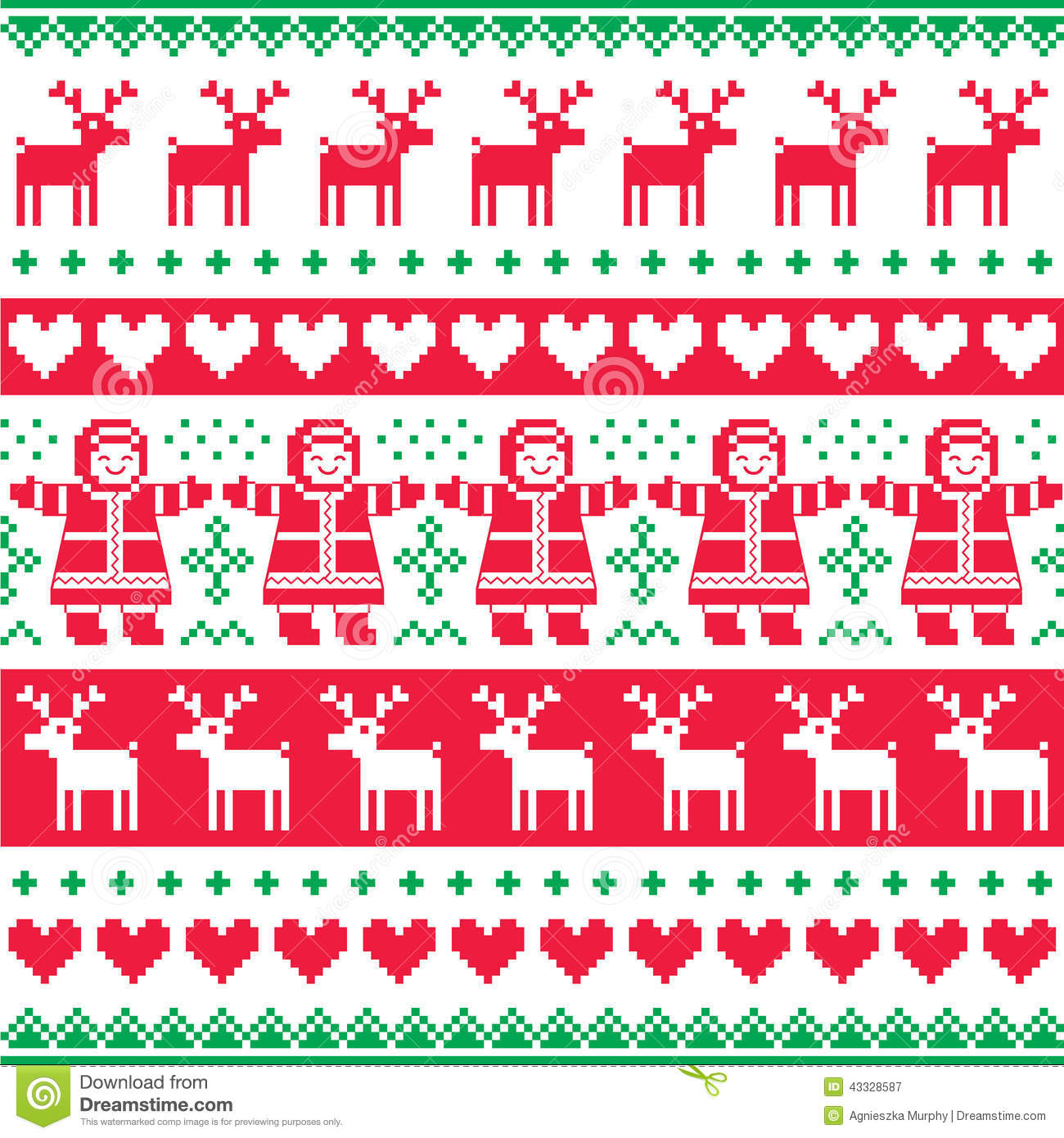 winter christmas red and green seamless pattern or print