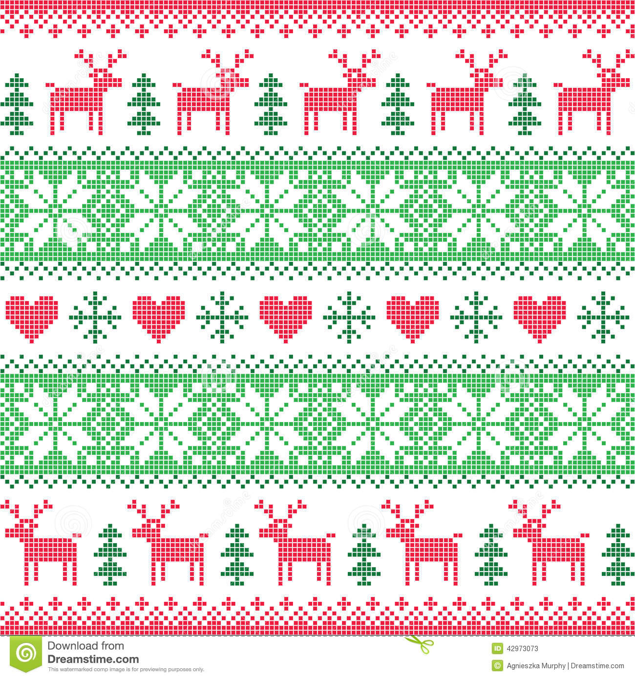 Winter, Christmas Red And Green Seamless Pixelated Pattern With ...