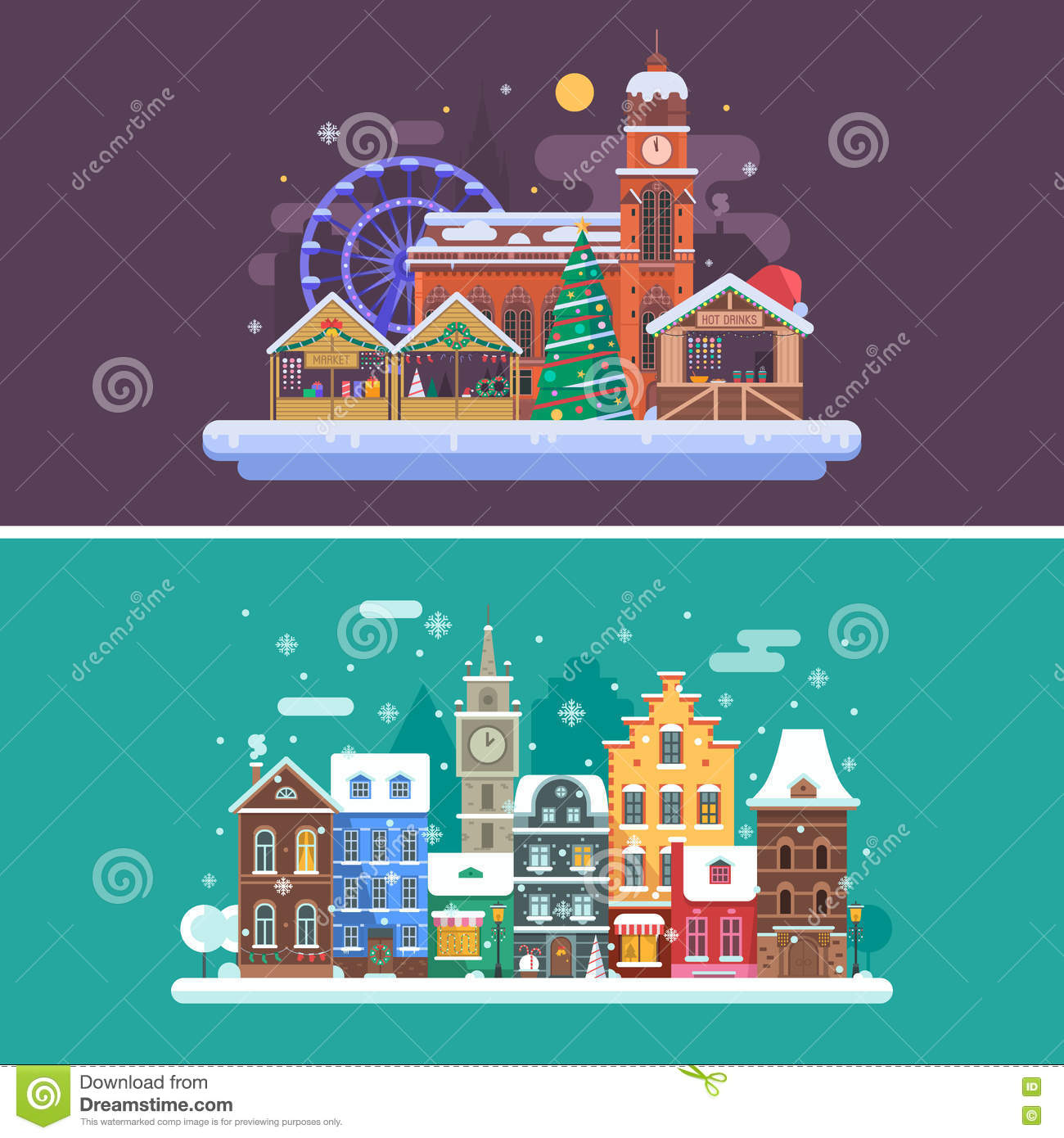 Town Landscape Vector Illustration: Winter City And Christmas Market Stock Vector
