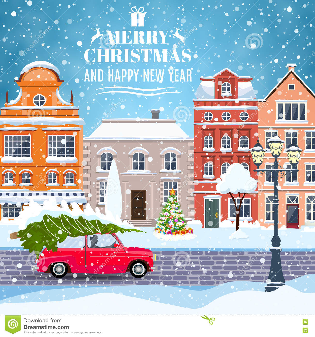 Happy New Year And Merry Christmas Winter Old Town Street With Tree Car Concept For Greeting Postal Card Invitation Template