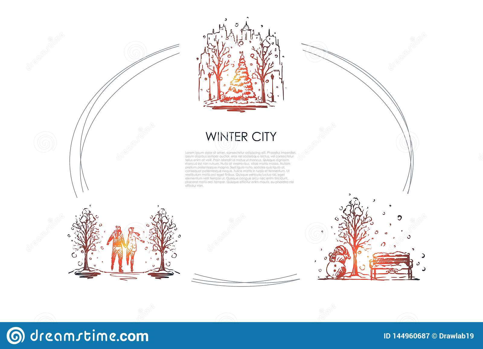 Winter city - urban landscapes under snowfall and people walking in winter park vector concept set