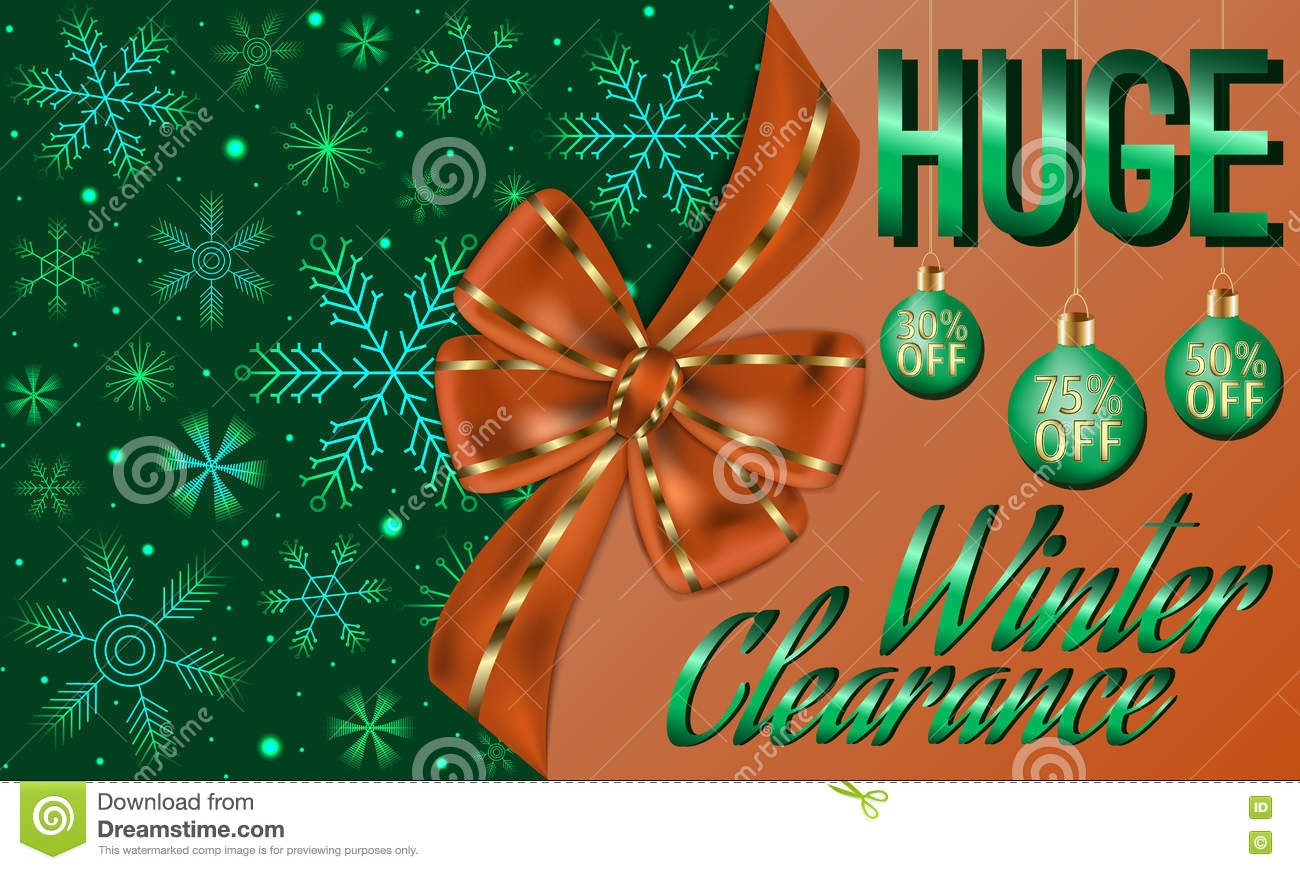 Winter Clearance Card Decorated With Big Orange Bow, Green Christmas ...