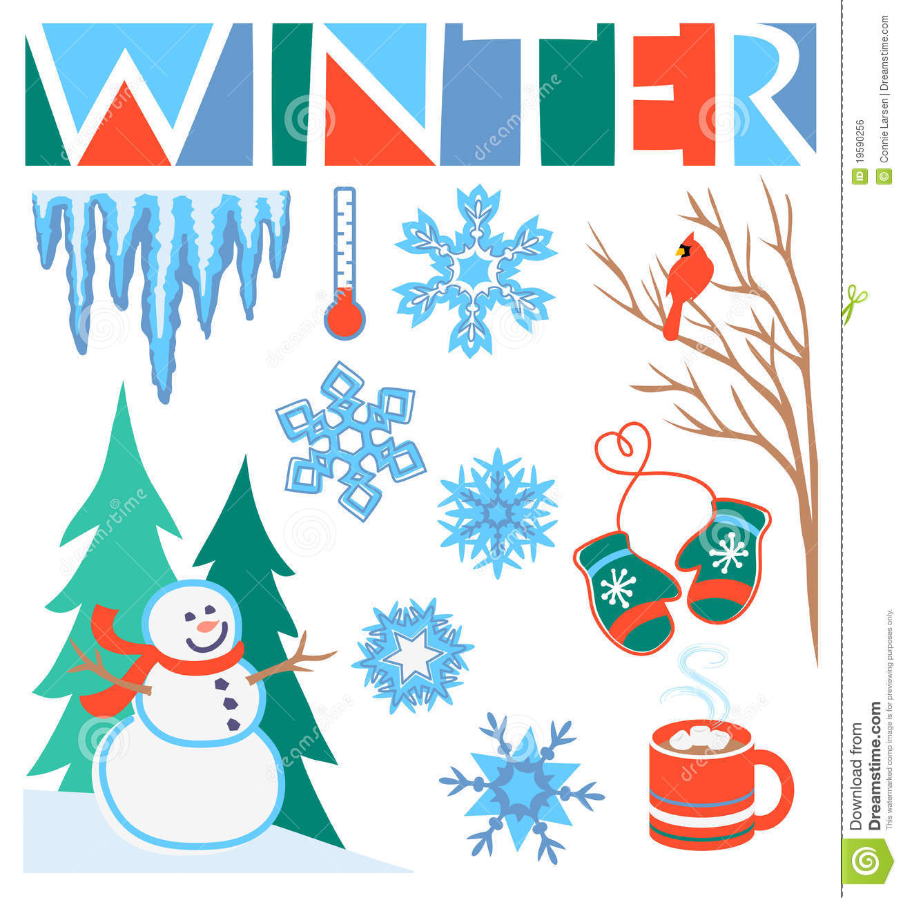 Illustrations of winter icons including a snowman, icicles, snowflakes ...