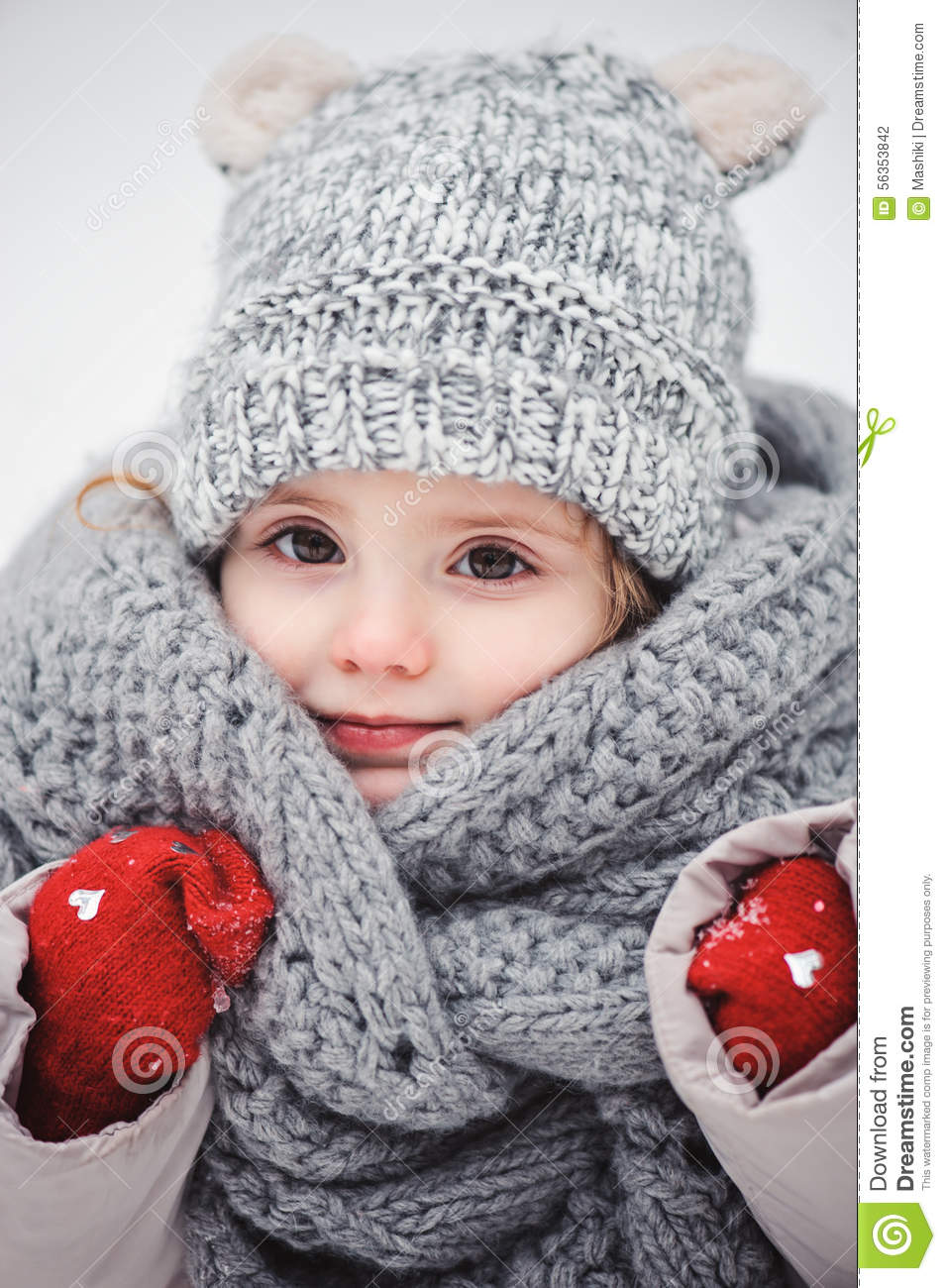 winter close up vertical portrait of adorable smiling baby girl in grey knitted hat and scarf. Black Bedroom Furniture Sets. Home Design Ideas