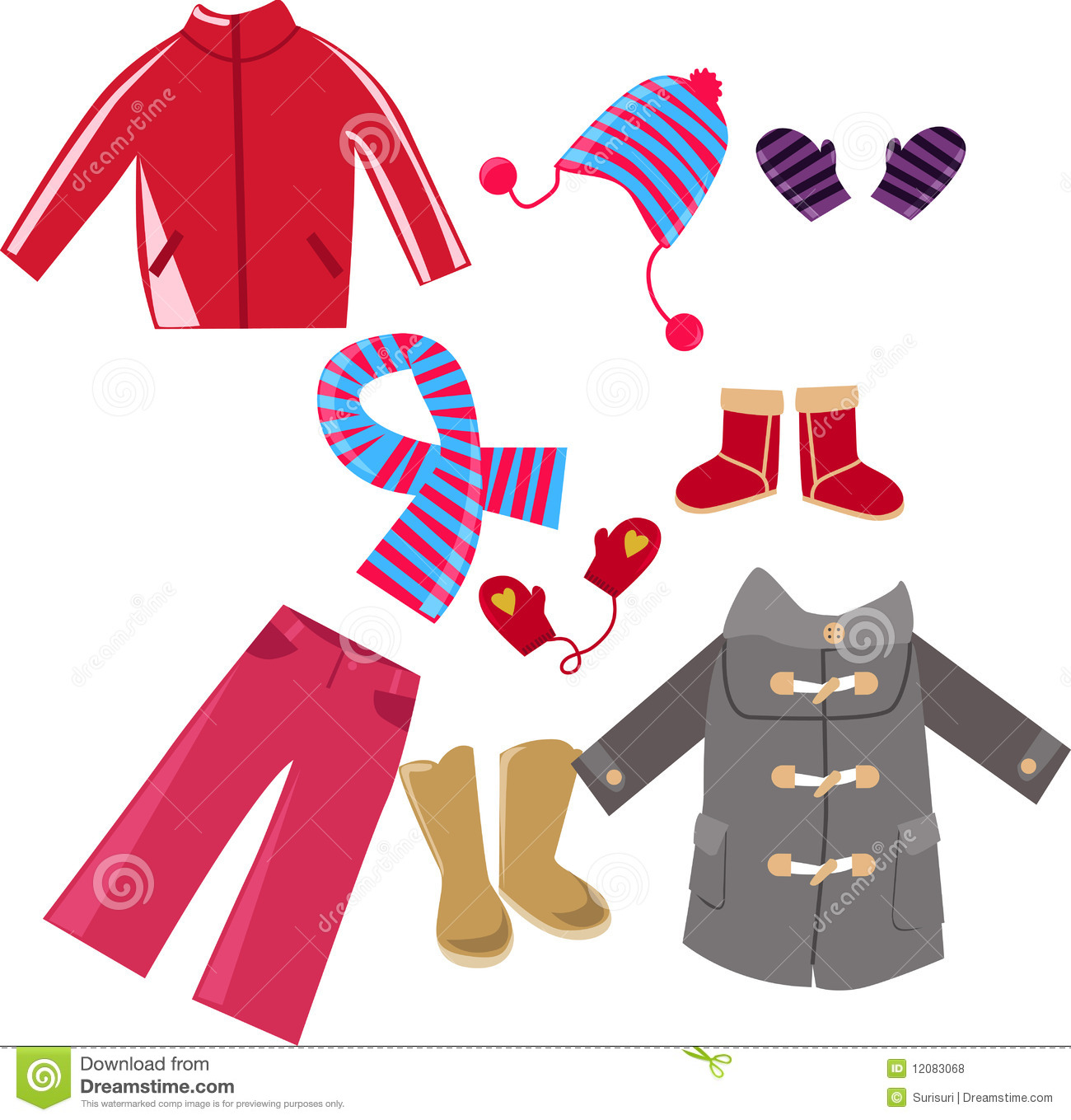 Winter clothes collection stock vector. Illustration of ...
