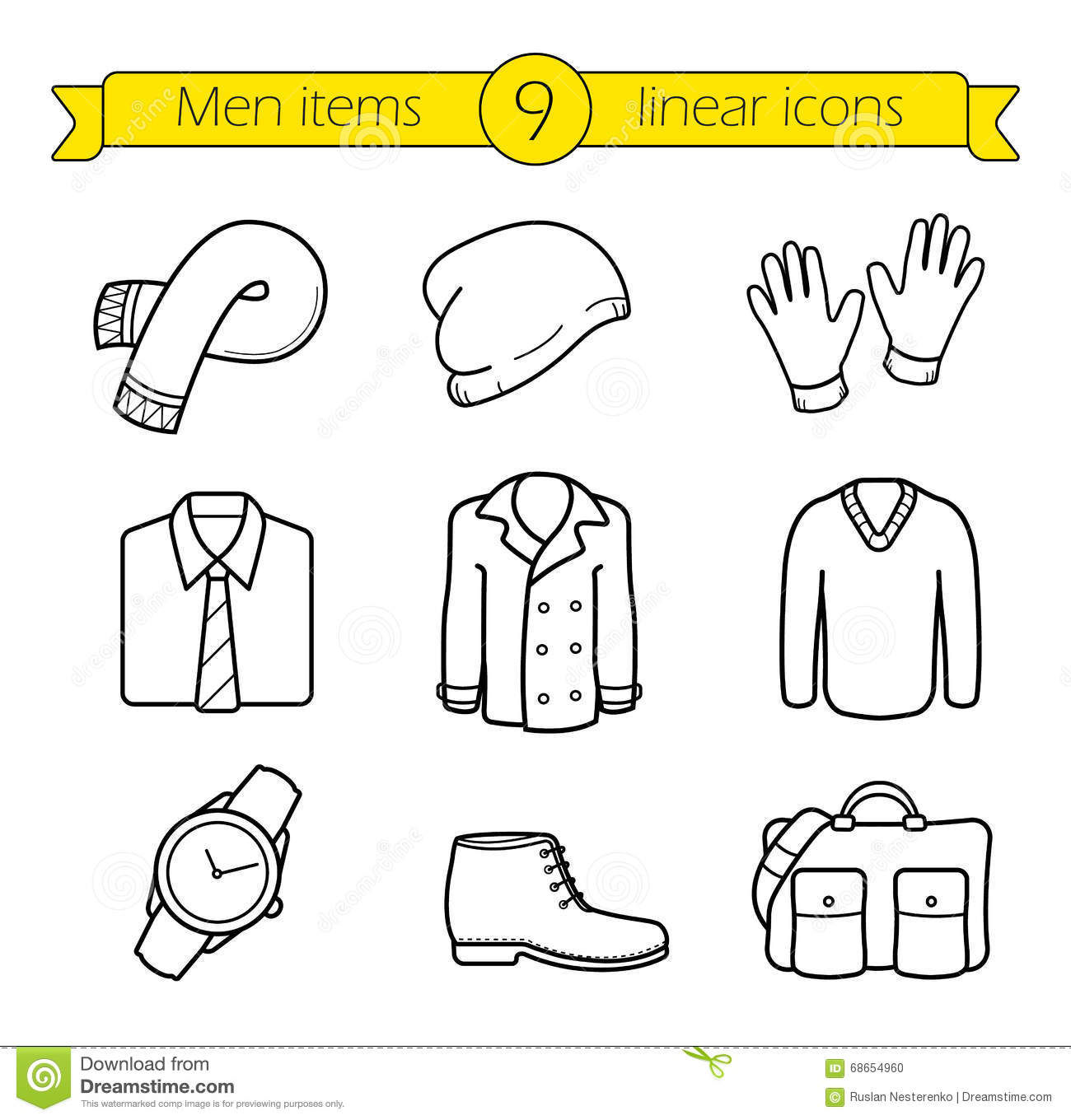 29e90507 Winter Clothes Linear Icons Set Stock Vector - Illustration of ...