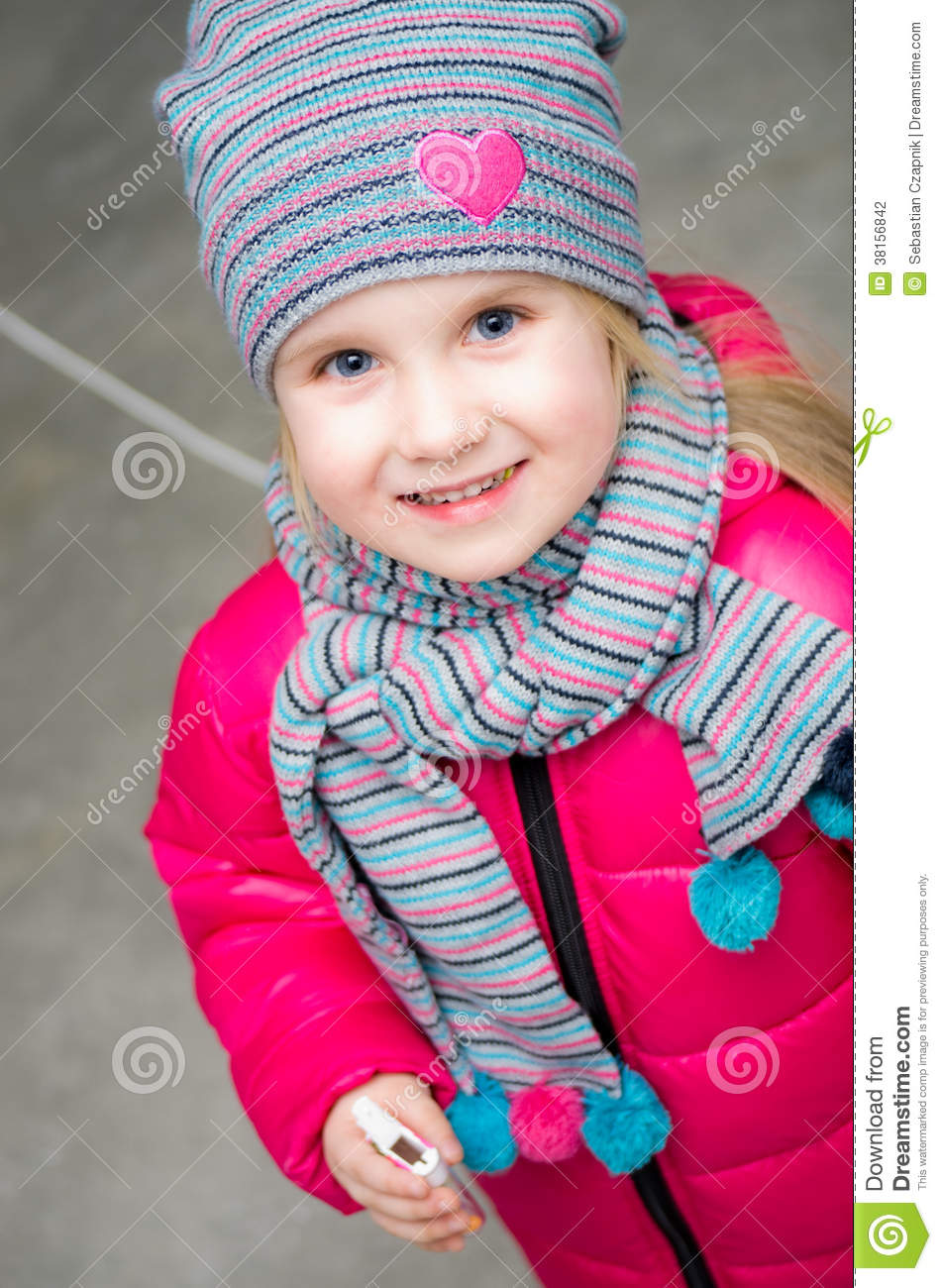 Adorable Four Year Boy With Big Blue Eyes Stock Image: Winter Clothes Little Girl Portrait Stock Photography