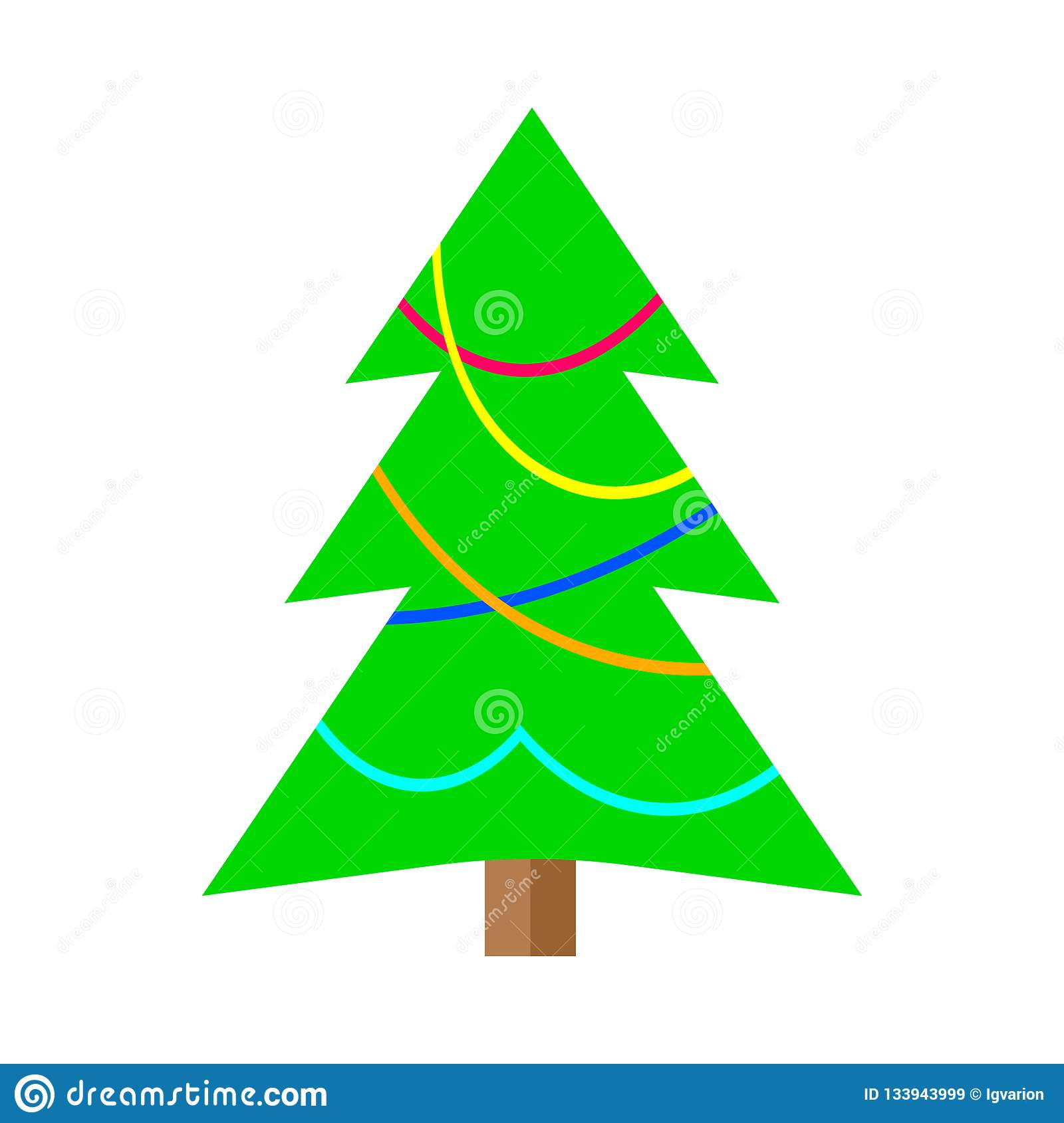 Colorful Christmas Tree Vector.Winter Colorful Cartoon Christmas Tree Stock Vector