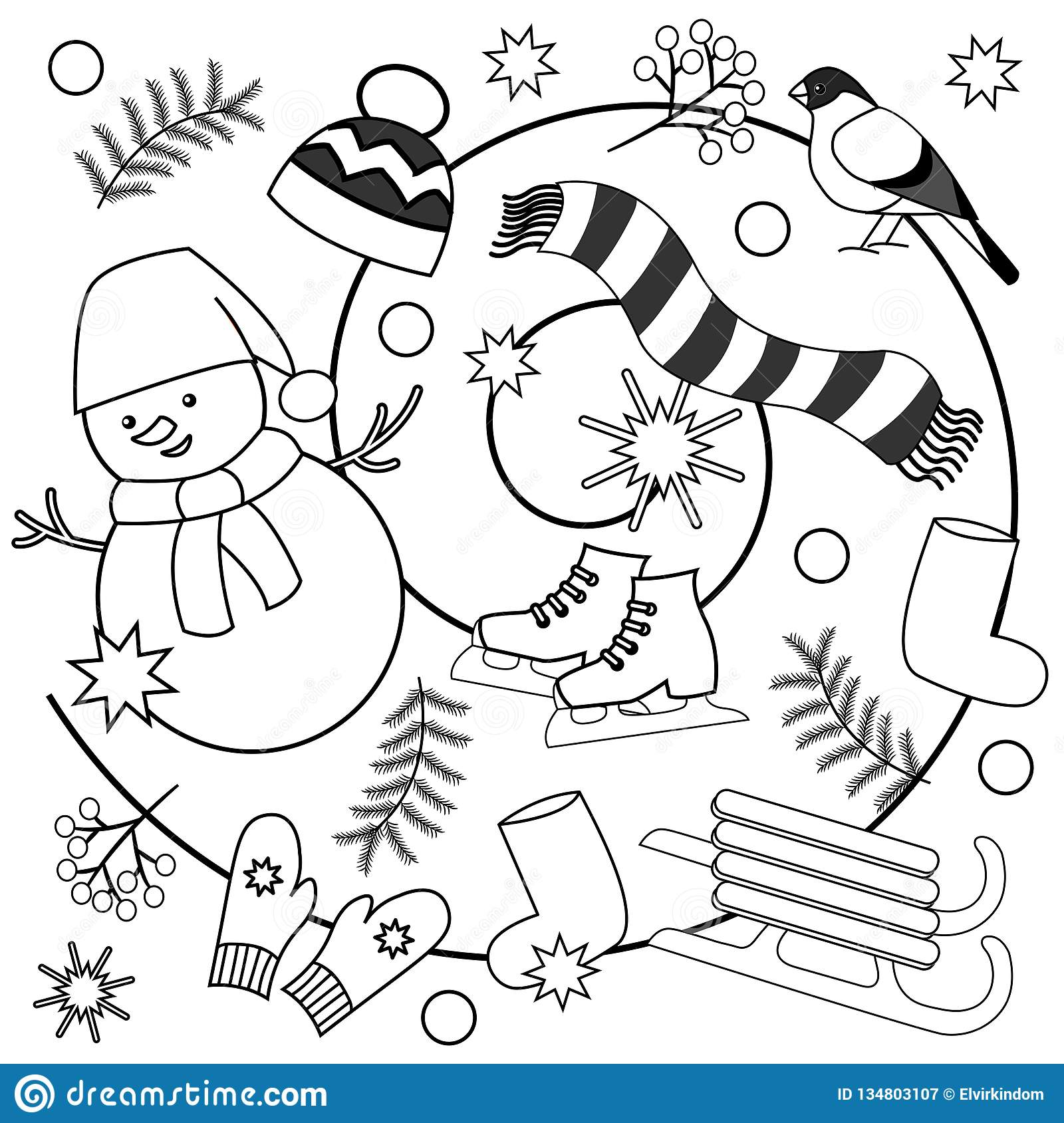 Winter Coloring Pages For Kids And Adults Stock Illustration ...