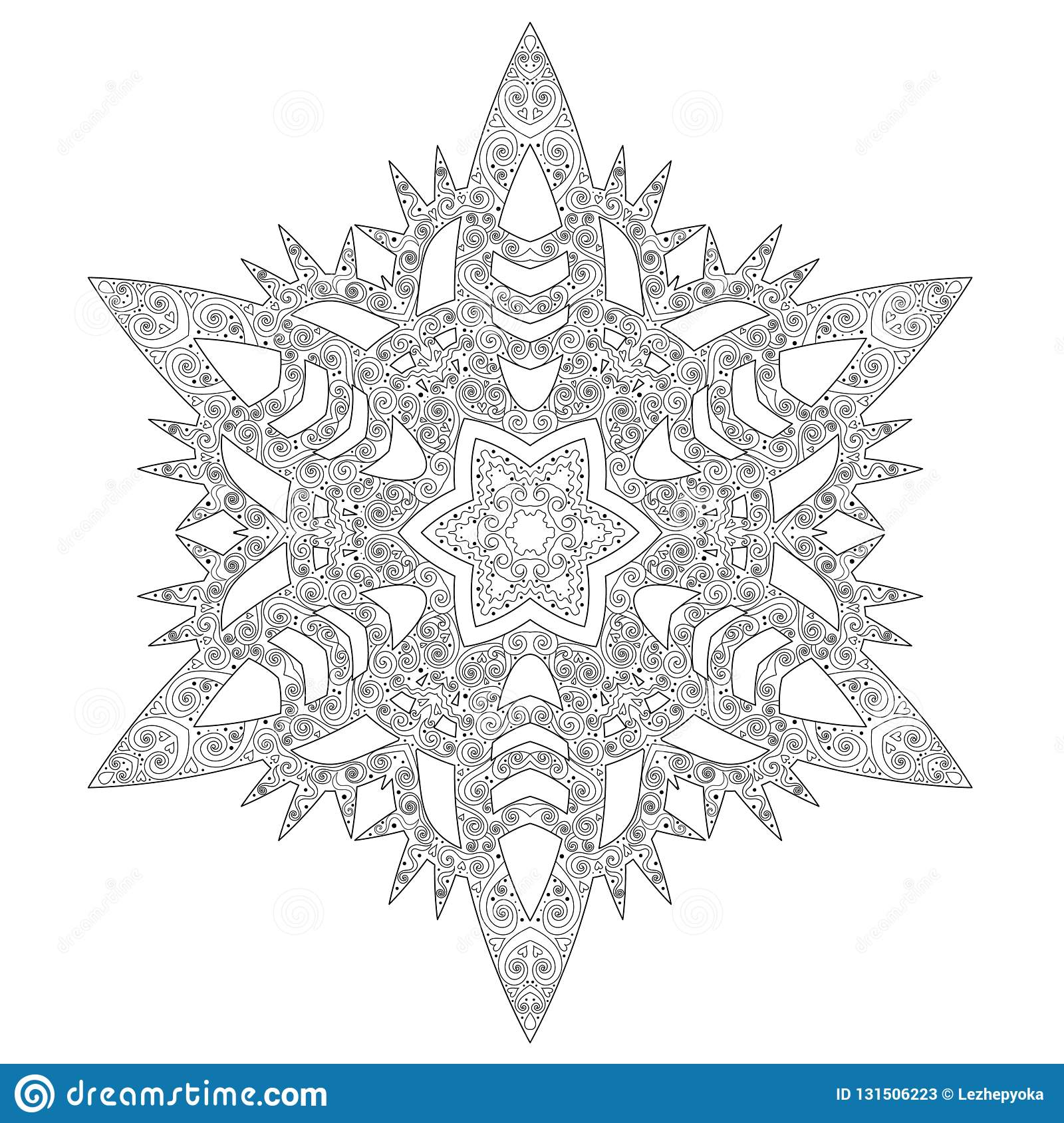 Winter Coloring Page With Anti Stress Snowflake Stock Vector ...