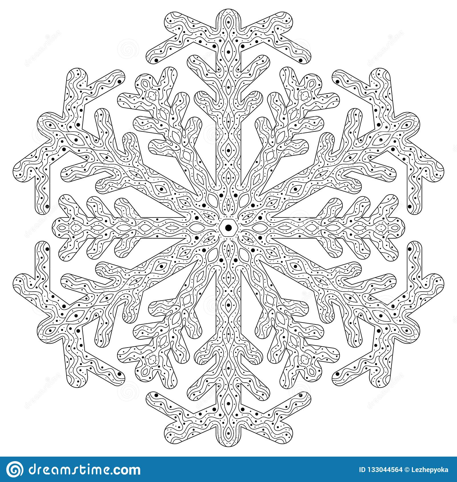 Winter Coloring Page With Anti Stress Snowflake Stock Vector