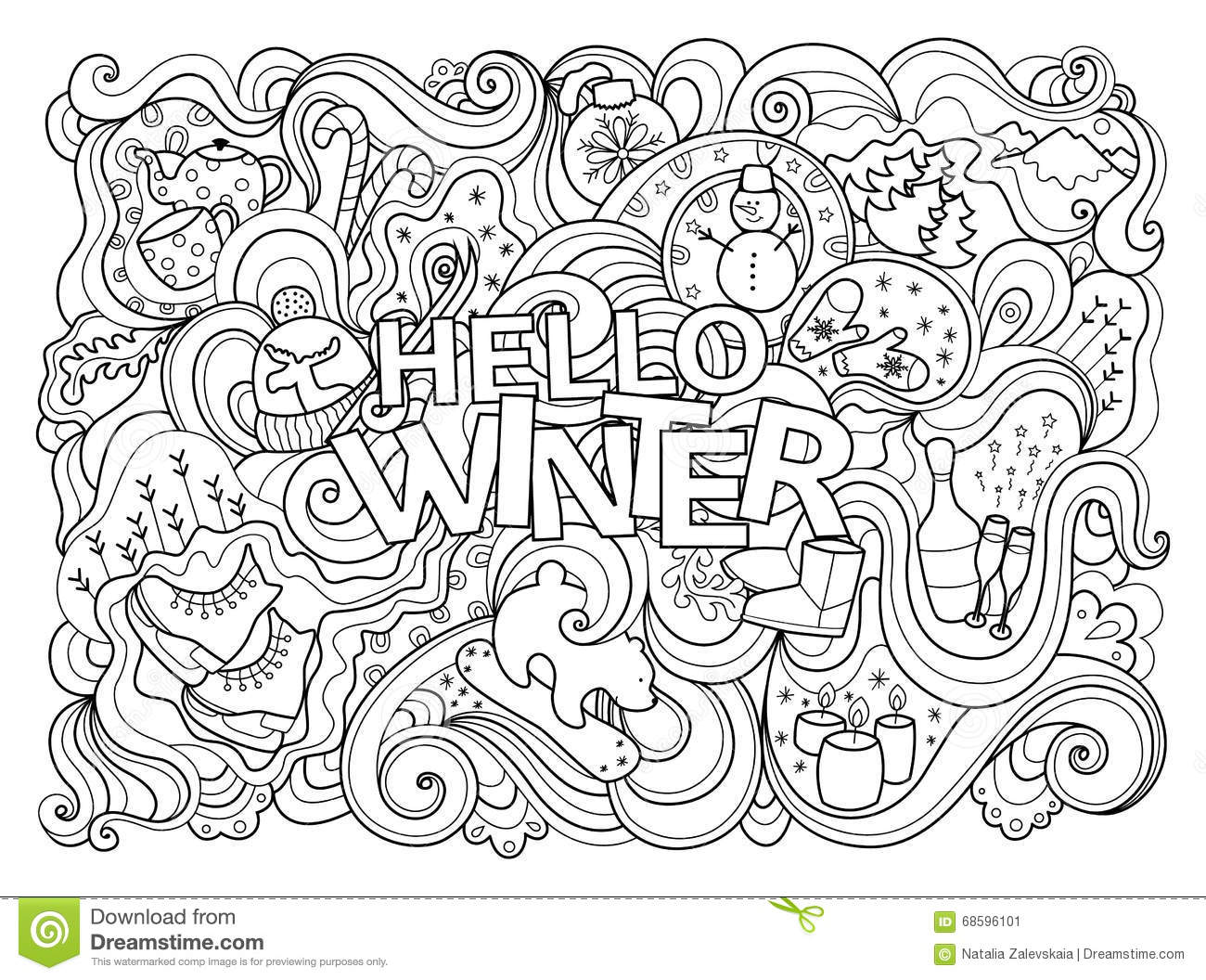 Winter Coloring Page Stock Vector. Illustration Of Black