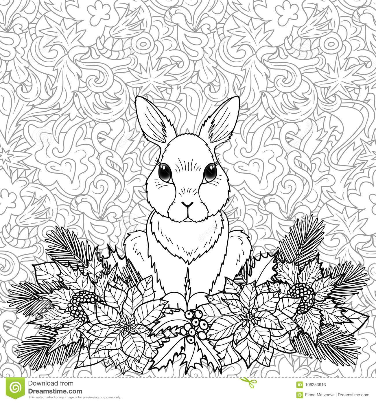 Winter Coloring Page With Rabbit Stock Vector - Illustration of