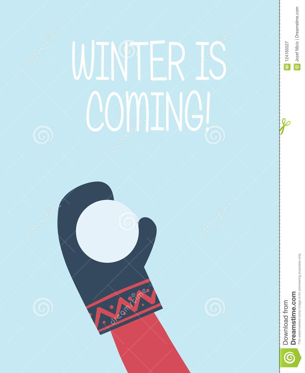 Winter Is Coming Card Vector Template Hand With Glove Throwing