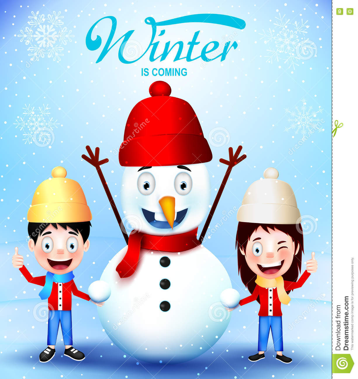 Winter is coming with kids vector characters and snowman greeting winter is coming with kids vector characters and snowman greeting card kristyandbryce Gallery
