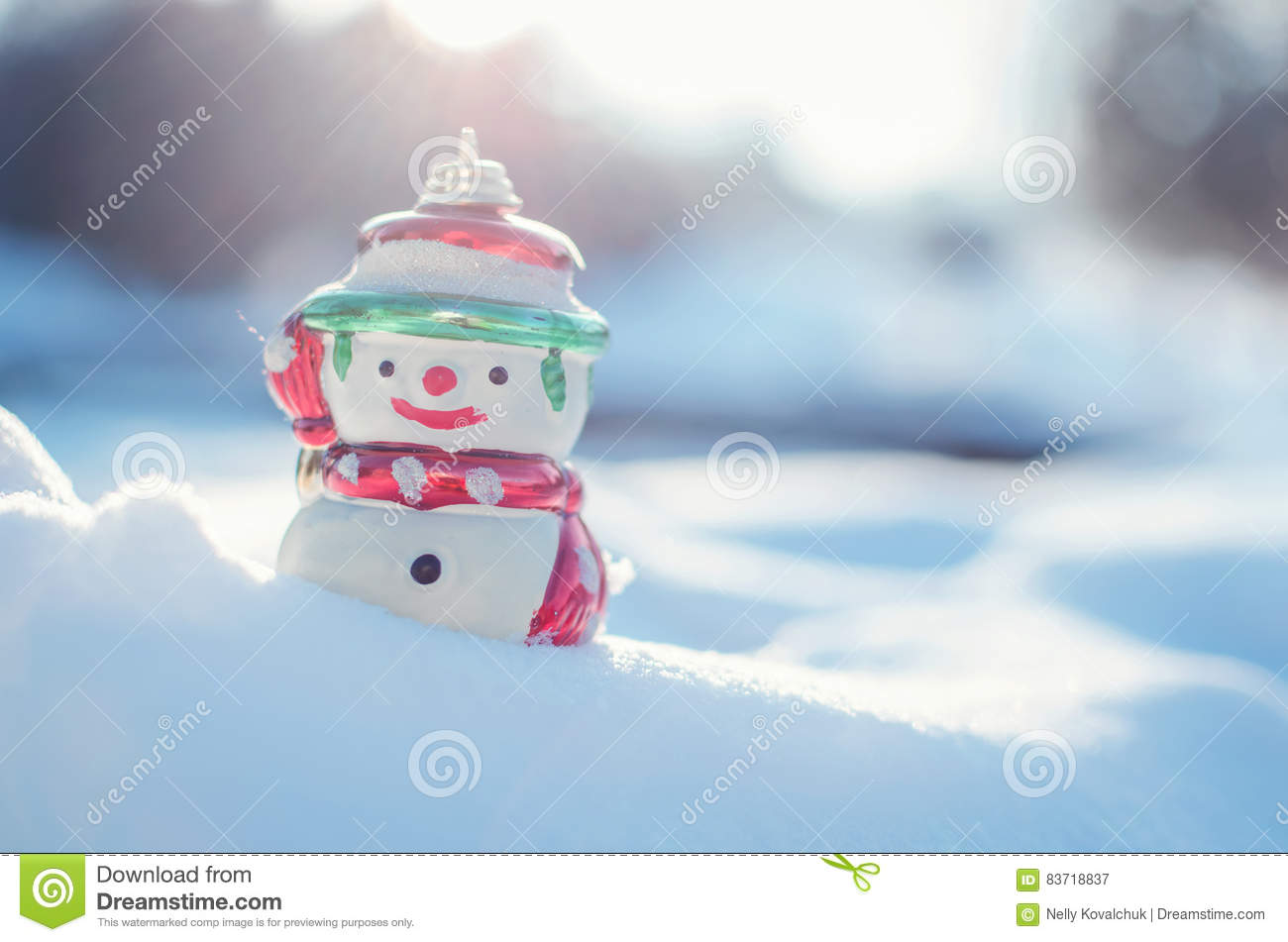 Winter Concept With Snowman On Snow Background. Stock Photo