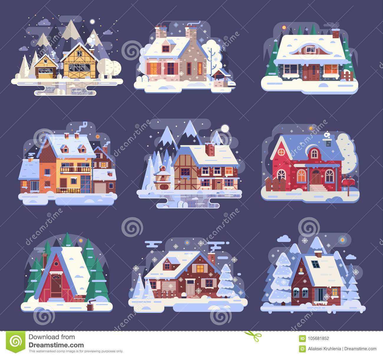 Winter Country House and Cabin Set