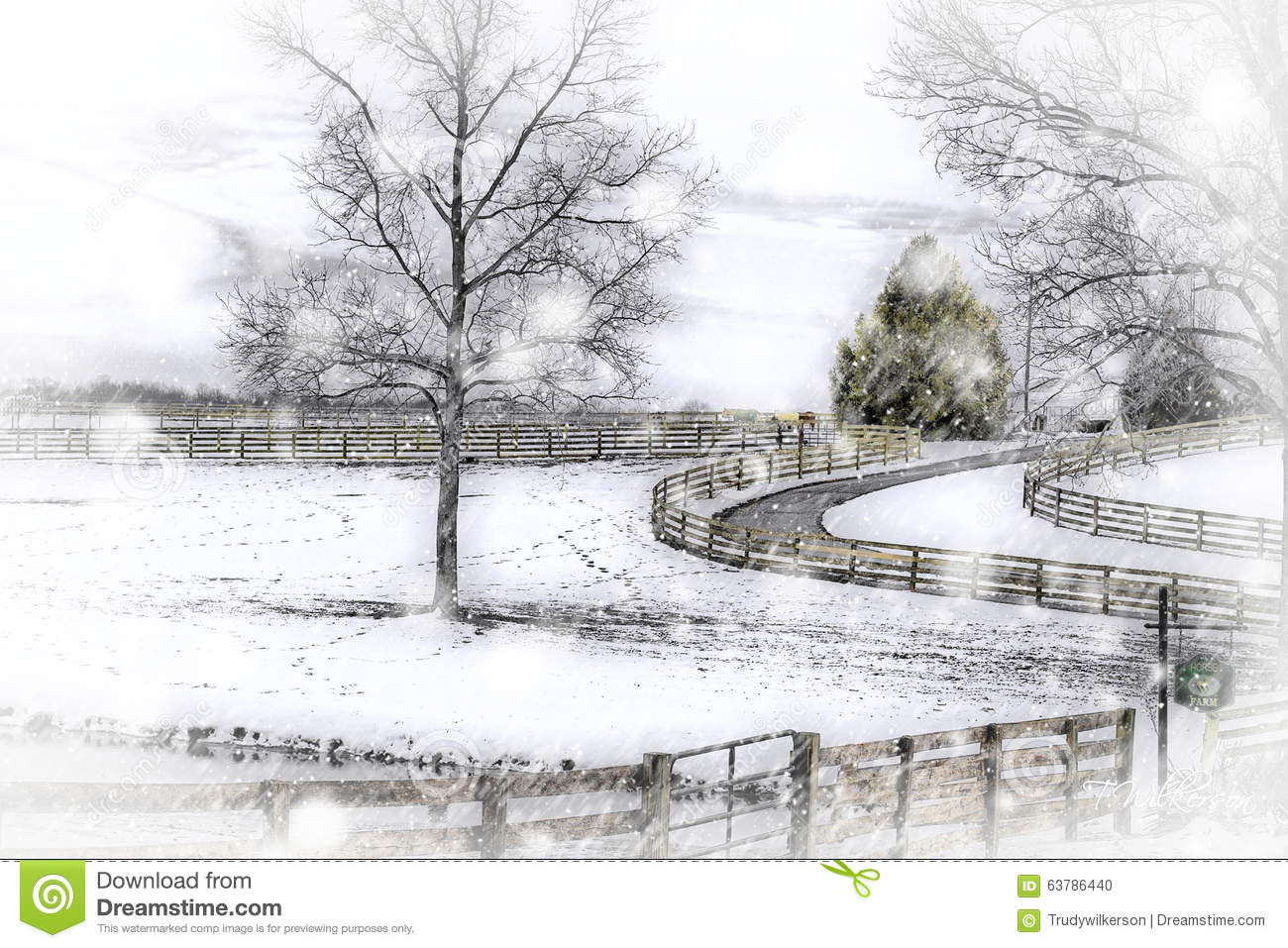 Winter Country Snowstorm - Horse Farm Stock Photo - Image of road ...