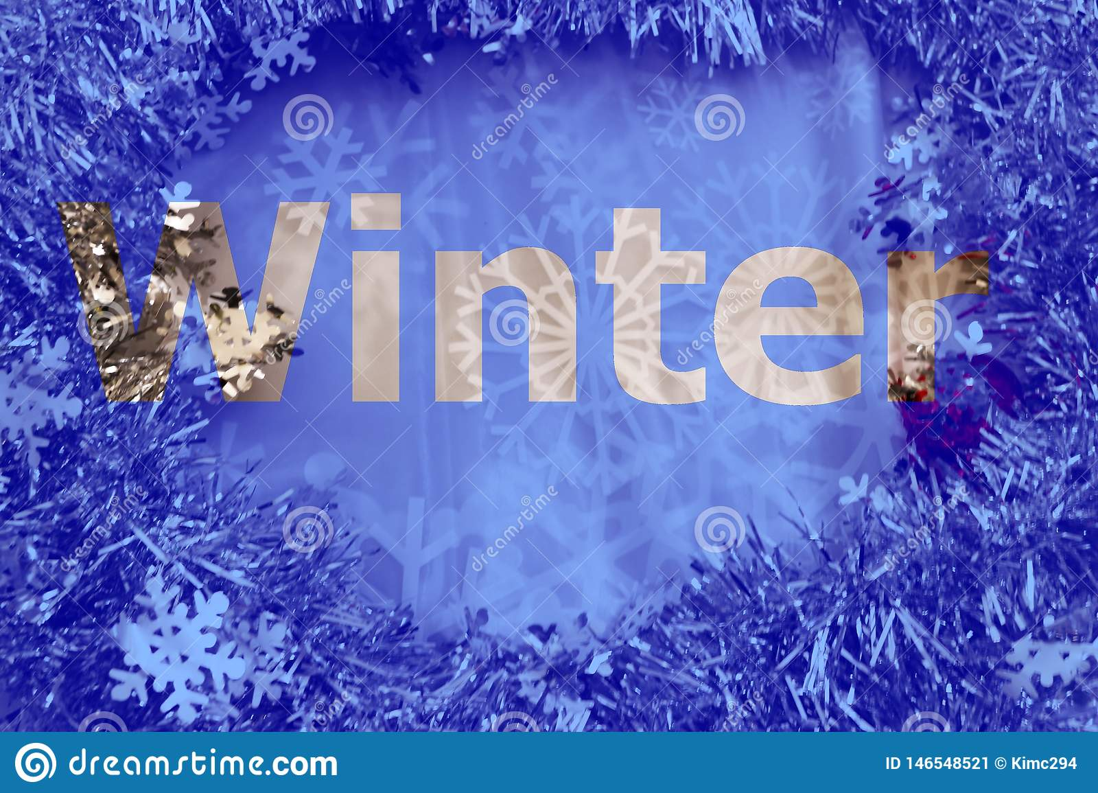 Winter cut out letters on glitter and snowflake background