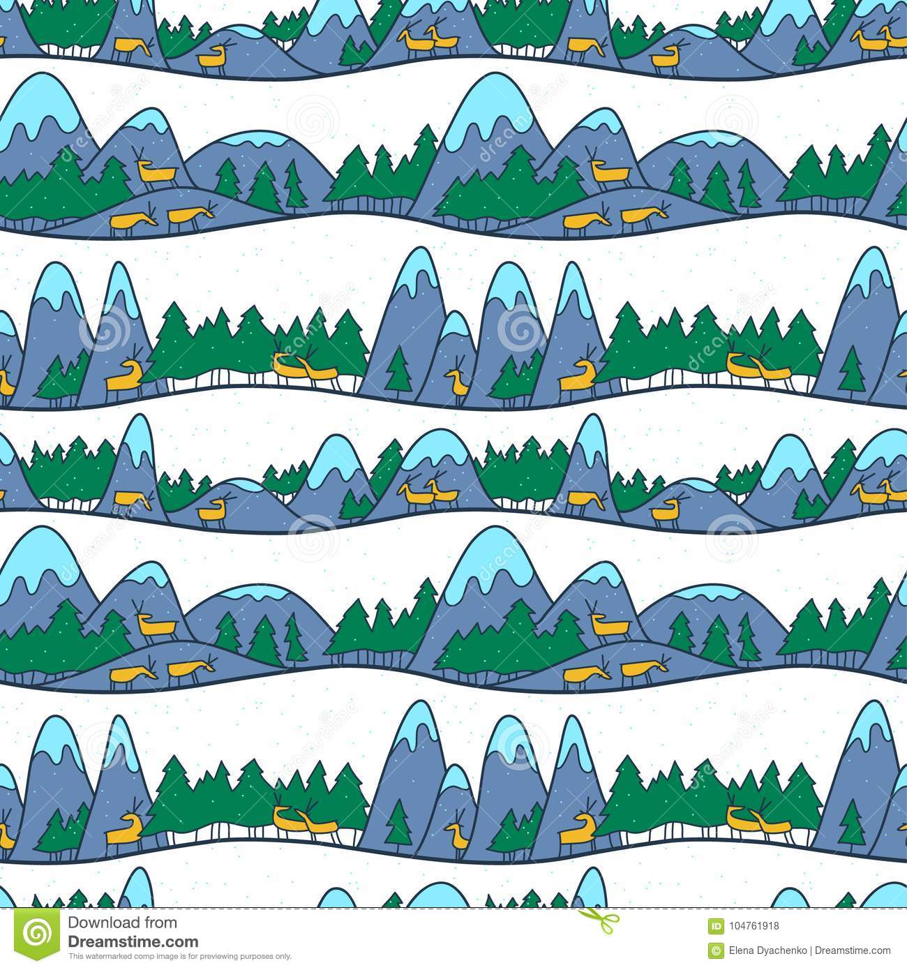Winter cute landscape. Christmas seamless pattern with deers, mo