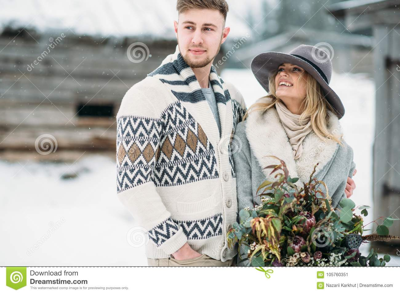 Photo Of Happy Man And Woman Outdoor In Winter Stock Image