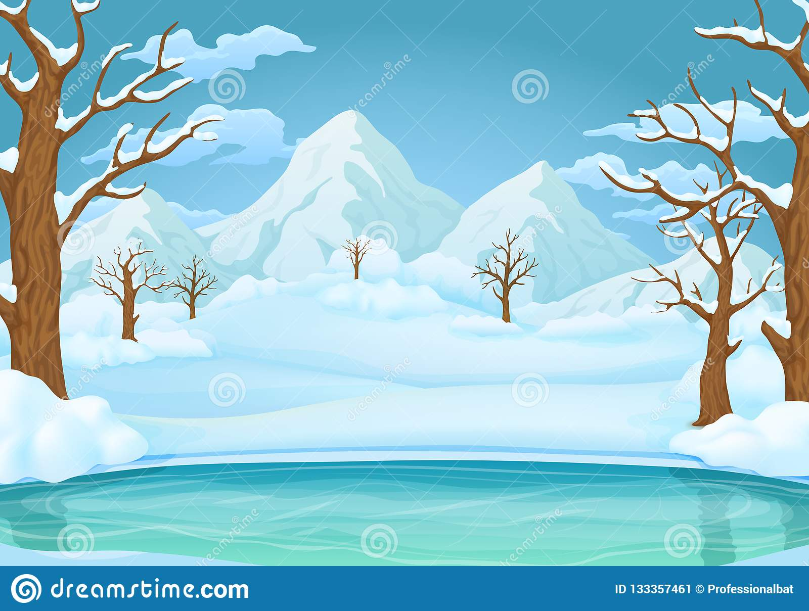 Winter day background. Frozen lake or river with snow covered trees and snowy mountains.