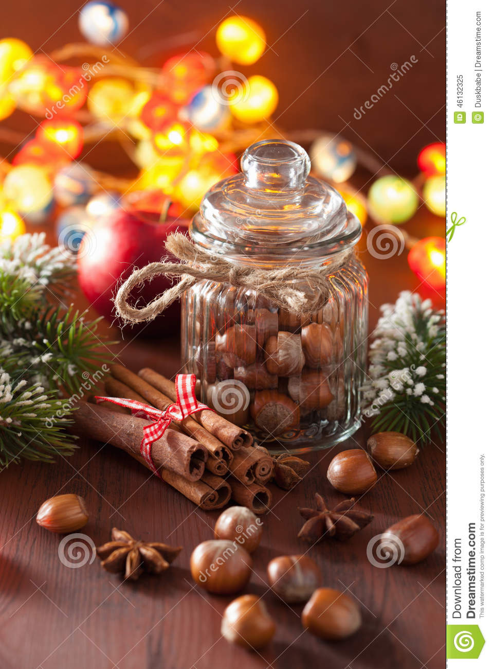 Winter decoration spices cinnamon christmas tree nuts